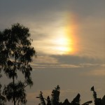 A close up of the effect with its partial rainbow & the image of the sun visible.